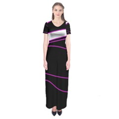 Purple, White And Black Lines Short Sleeve Maxi Dress