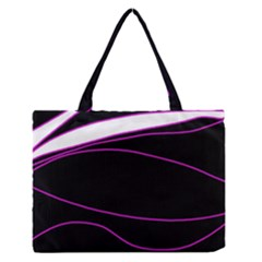 Purple, white and black lines Medium Zipper Tote Bag