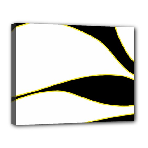 Yellow, black and white Canvas 14  x 11
