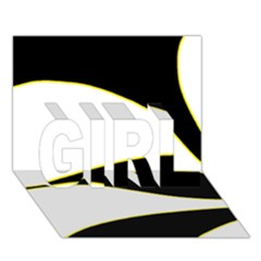 Yellow, black and white GIRL 3D Greeting Card (7x5)