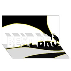 Yellow, black and white BEST BRO 3D Greeting Card (8x4)