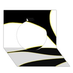 Yellow, black and white Circle 3D Greeting Card (7x5)
