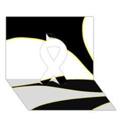 Yellow, black and white Ribbon 3D Greeting Card (7x5)