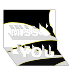 Yellow, black and white Miss You 3D Greeting Card (7x5)