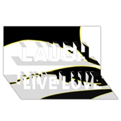 Yellow, black and white Laugh Live Love 3D Greeting Card (8x4)