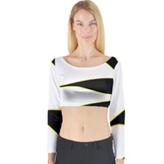 Yellow, black and white Long Sleeve Crop Top