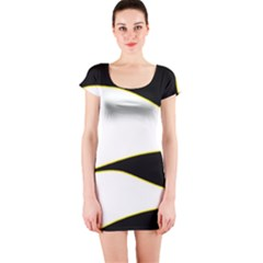 Yellow, black and white Short Sleeve Bodycon Dress