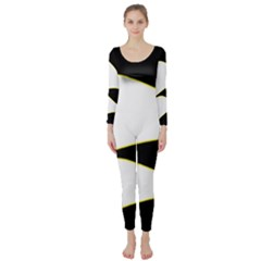 Yellow, black and white Long Sleeve Catsuit