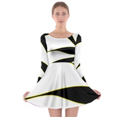 Yellow, black and white Long Sleeve Skater Dress