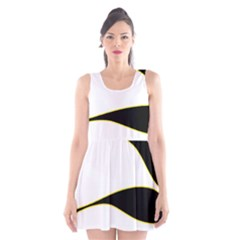 Yellow, black and white Scoop Neck Skater Dress
