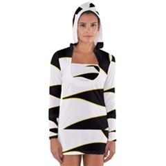 Yellow, black and white Women s Long Sleeve Hooded T-shirt