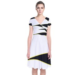 Yellow, black and white Short Sleeve Front Wrap Dress