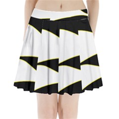Yellow, black and white Pleated Mini Skirt
