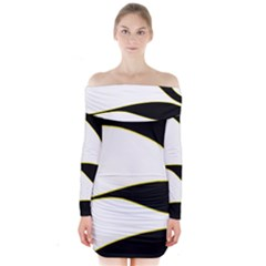 Yellow, Black And White Long Sleeve Off Shoulder Dress
