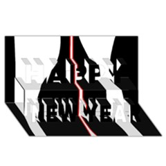 White, red and black Happy New Year 3D Greeting Card (8x4)