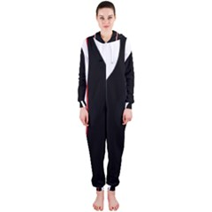 White, red and black Hooded Jumpsuit (Ladies)