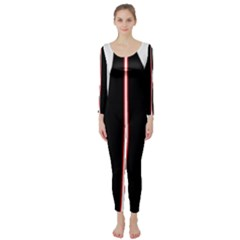 White, red and black Long Sleeve Catsuit