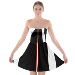 White, red and black Strapless Bra Top Dress