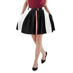 White, red and black A-Line Pocket Skirt