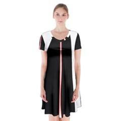 White, red and black Short Sleeve V-neck Flare Dress