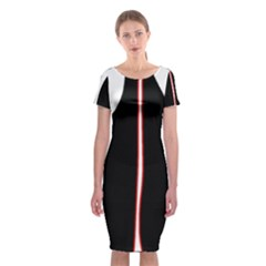 White, red and black Classic Short Sleeve Midi Dress
