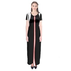 White, red and black Short Sleeve Maxi Dress
