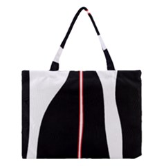 White, red and black Medium Tote Bag