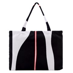 White, red and black Medium Zipper Tote Bag
