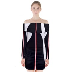 White, red and black Long Sleeve Off Shoulder Dress