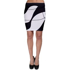 White and black shadow Bodycon Skirt