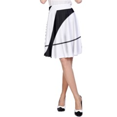 White and black shadow A-Line Skirt
