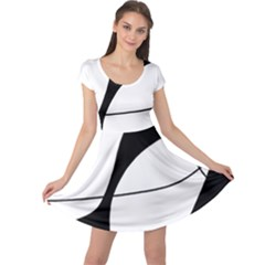 White and black shadow Cap Sleeve Dresses