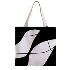 White and black shadow Zipper Grocery Tote Bag