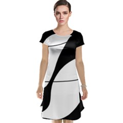 White and black shadow Cap Sleeve Nightdress