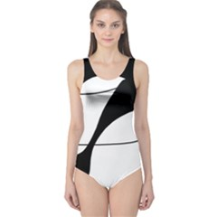 White and black shadow One Piece Swimsuit