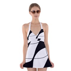 White and black shadow Halter Swimsuit Dress