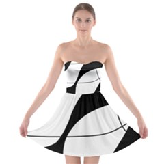 White and black shadow Strapless Bra Top Dress