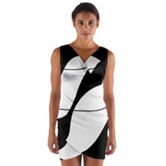 White and black shadow Wrap Front Bodycon Dress