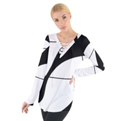 White and black shadow Women s Tie Up Tee