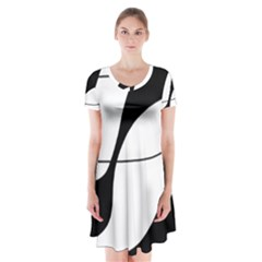 White and black shadow Short Sleeve V-neck Flare Dress