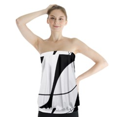 White and black shadow Strapless Top