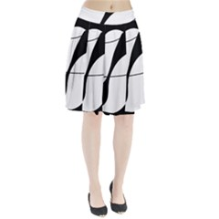 White and black shadow Pleated Skirt