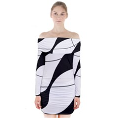 White And Black Shadow Long Sleeve Off Shoulder Dress