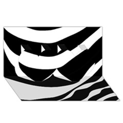 White or black Twin Hearts 3D Greeting Card (8x4)
