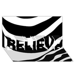 White or black BELIEVE 3D Greeting Card (8x4)