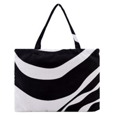 White or black Medium Zipper Tote Bag