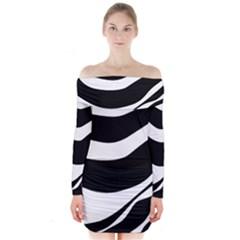 White or black Long Sleeve Off Shoulder Dress