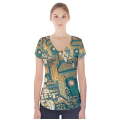 Circuit Computer Plate  Short Sleeve Front Detail Top