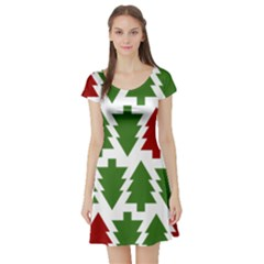 Christmas Trees Short Sleeve Skater Dress
