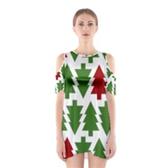 Christmas Trees Cutout Shoulder Dress